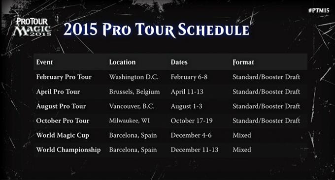 Pro Tour 2015 Schedule