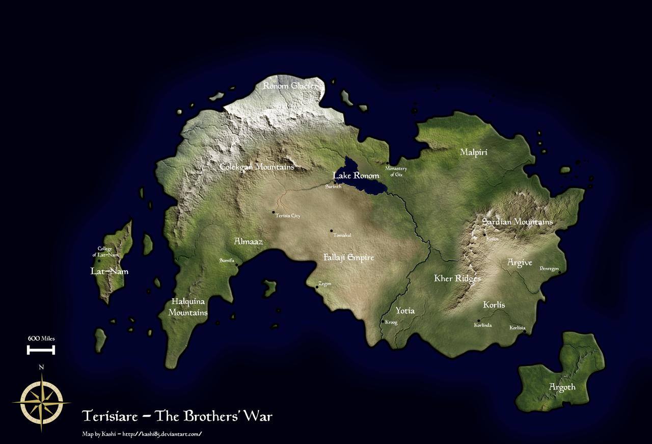 Terisiare, mapa krainy